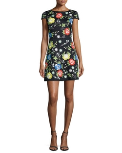 'Ellen' Short-Sleeve Embroidered Dress by Alice + Olivia in New Girl
