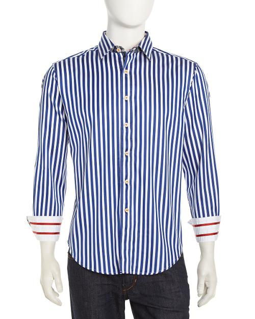 Mr. Balik Bengal Striped Dress Shirt, Blue/White by Robert Graham in Yves Saint Laurent