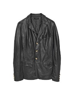 Black Leather 3-Button Blazer Jacket by Forzieri in Taken 3