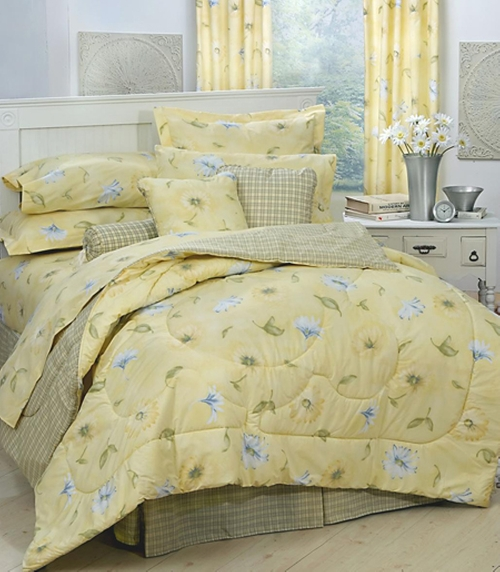 Laura Yellow Floral & Plaid Bedding Comforter Set by Laura bedding in Wish I Was Here