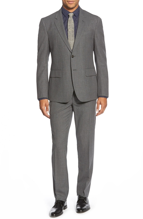 Journeyman Trim Fit Solid Wool Suit by Haspel in The Good Wife