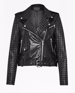Chaos Leather Studded Biker Jacket by French Connection in Empire