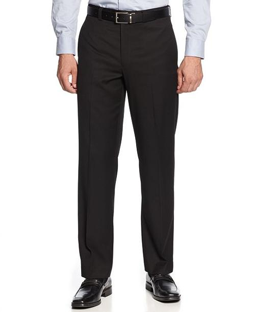 Black Solid Flat-Front Dress Pants by Lauren by Ralph Lauren in Savages