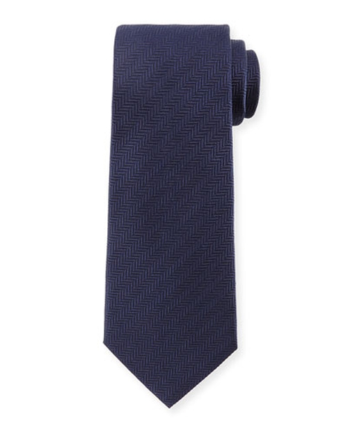 Textured Herringbone Silk Tie, Navy by Armani Collezioni in The Walk
