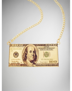 Gold 100 Dollar Bill Necklace by Spencer's in Get Hard