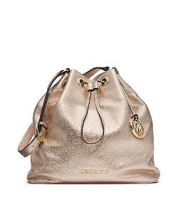 Jules Drawstring Metallic Leather Large Shoulder Bag by Michael Kors in Tammy