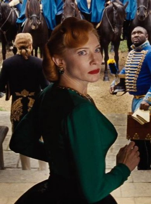 Custom Made Green Point Sleeve Dress (Lady Tremaine) by Sandy Powell (Costume Designer) in Cinderella