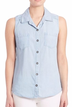 Chambray Sleeveless Button-Up Shirt by Splendid in La La Land