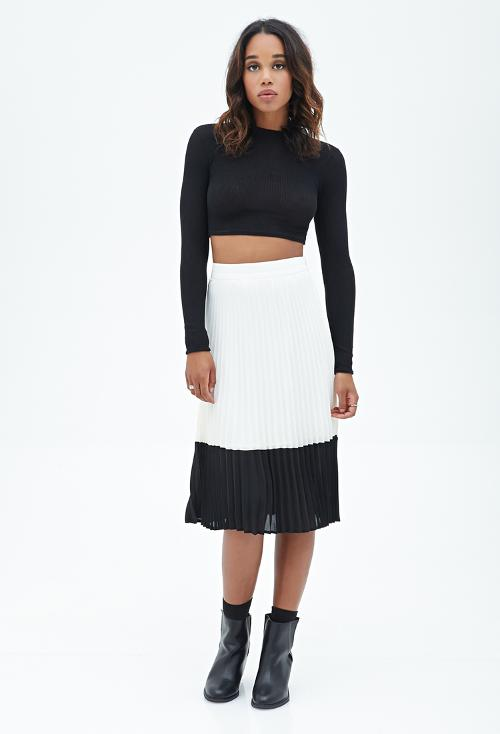 Accordion Pleated Midi Skirt by Forever 21 in Addicted