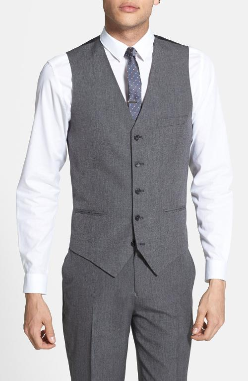 Skinny Fit Grey Vest by Topman in Unbroken