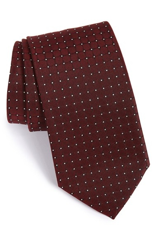 Dot Silk Tie by Boss in Rosewood