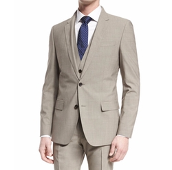 Huge Genius Slim Houndstooth Three-Piece Wool Suit by Boss Hugo Boss in The Blacklist