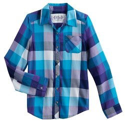 Plaid Button-Front Top by Mudd in If I Stay