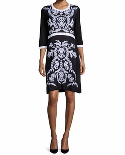 3/4-Sleeve Damask-Pattern Dress by Misook in The Good Fight