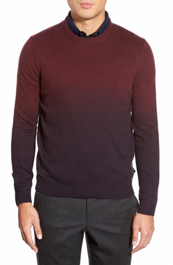 'Holaday' Modern Slim Fit Ombré Crewneck Sweater by Ted Baker London in Black-ish