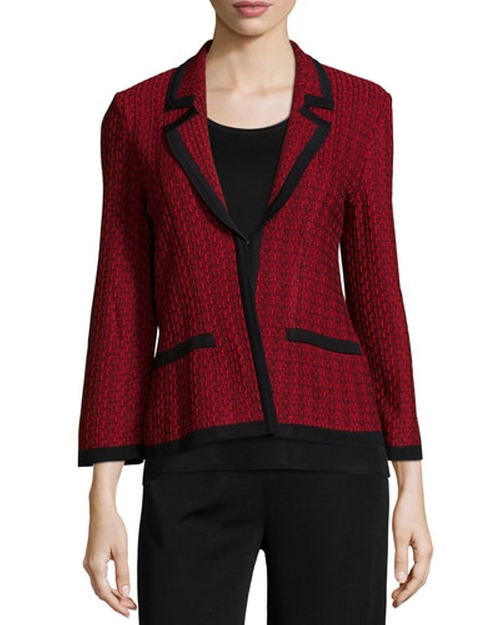 Woven Knit Cropped Jacket by Misook in The Good Wife - Season 7 Episode 9