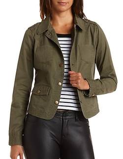 Top-Stitched Military Jacket by Charlotte Russe in Her