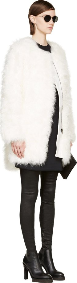 White Goat Fur Coat by Helmut Lang in Focus