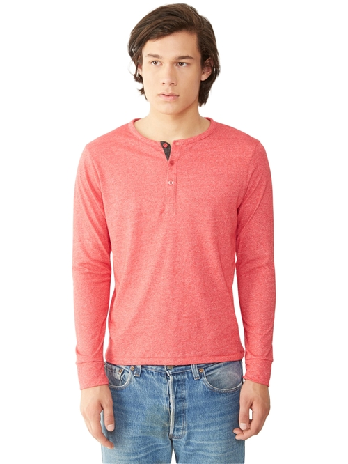 Basic Eco-Mock Twist Henley Shirt by Alternative Apparel in Brooklyn Nine-Nine