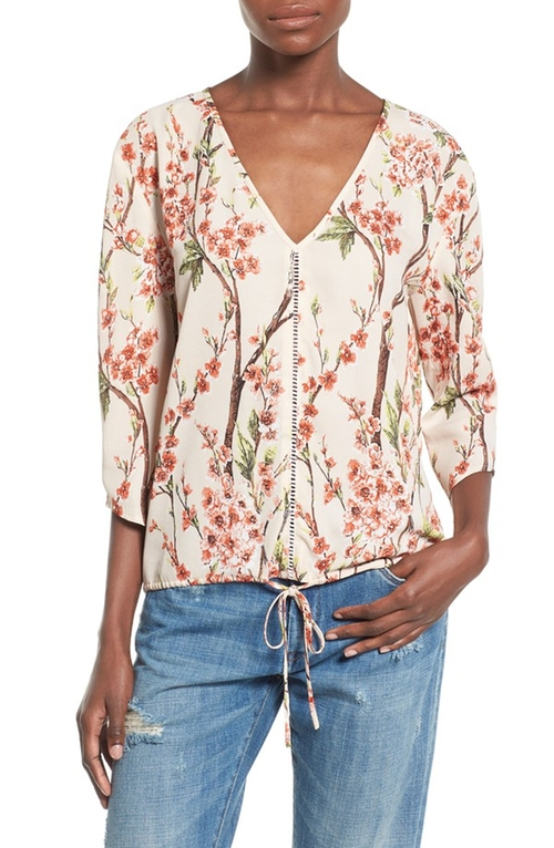 V-Neck Floral Print Blouse by Love Sadie in The Flash - Season 2 Episode 17