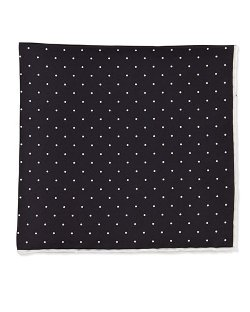 Dot-Print Pocket Square by Neiman Marcus	 in Black or White