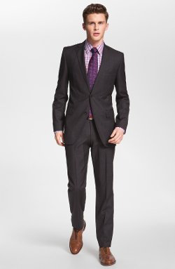 James/Sharp Trim Fit Grey Virgin Wool Suit by Boss Hugo Boss in John Wick
