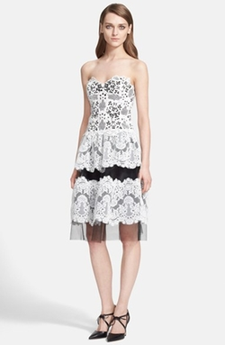 Mixed Lace Strapless Dress by Naeem Khan in Pretty Little Liars