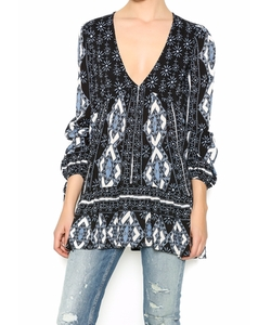 Printed Tunic Top by Free People in Rosewood