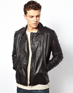 Selected Biker Leather Jacket by ASOS in Sabotage