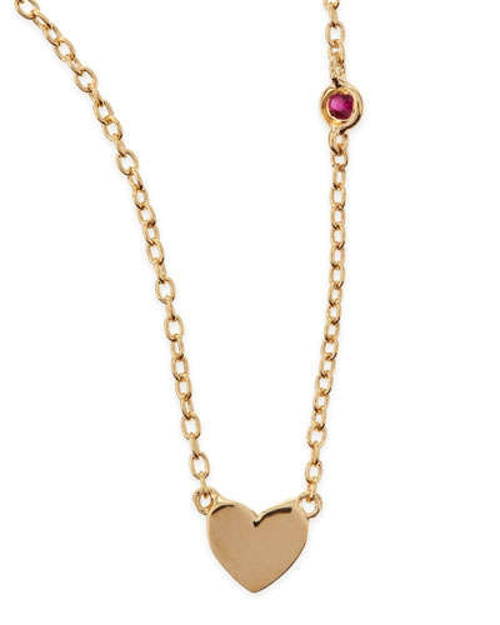 Heart Bezel-Ruby Pendant Necklace by Shy By Sydney Evan in Absolutely Anything