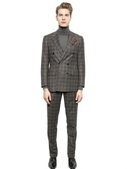 Checked Wool & Cashmere Blend Suit by Larusmiani in Ballers