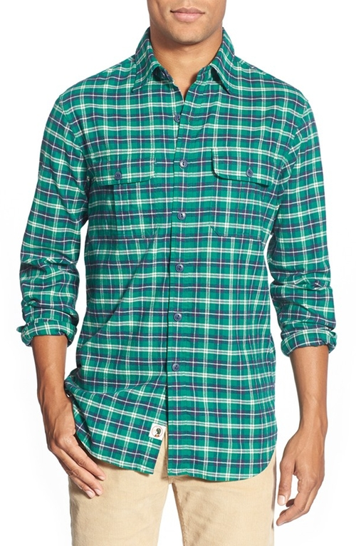 'Favre Flannel' Classic Fit Herringbone Sport Shirt by Duck Head in Black-ish