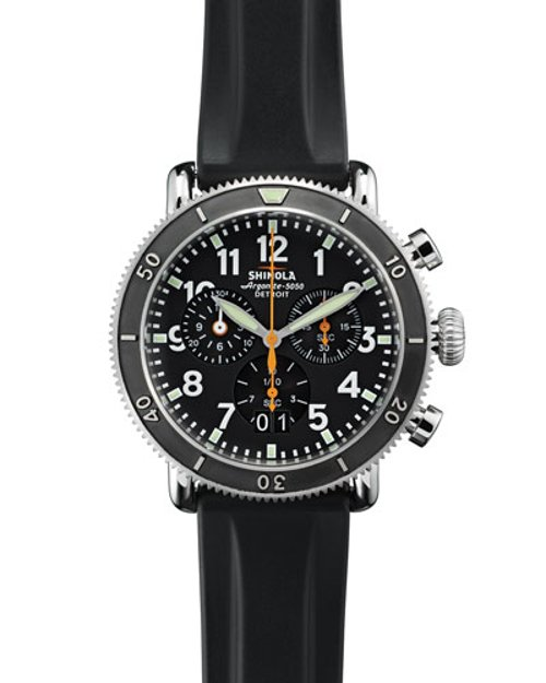 Chronograph Watch with Rubber Strap by Shinola in The Gunman