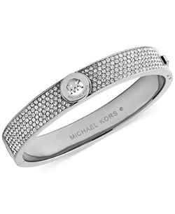 Crystal Pavê Logo Bangle Bracelet by Michael Kors in Southpaw