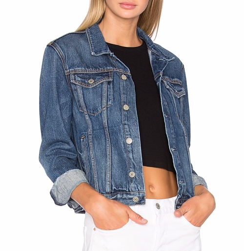 Bianca Denim Trucker Jacket by Grlfrnd in Speechless - Season 1 Preview