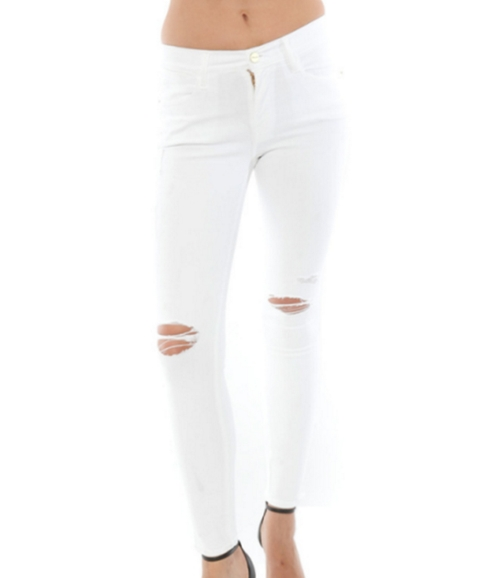 White Distressed Denim Jeans by Frame Denim in Keeping Up With The Kardashians - Season 12 Episode 4