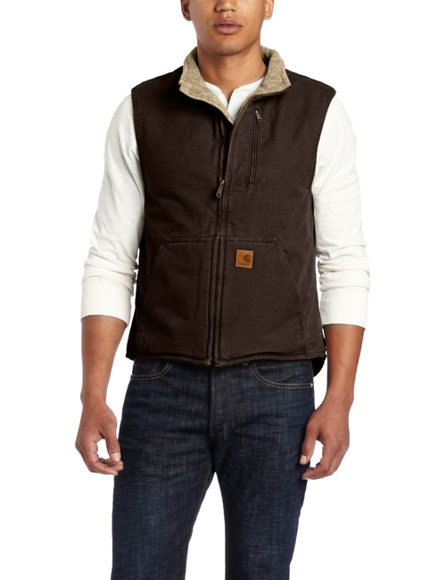 Sherpa-Lined Sandstone Vest by Carhartt in The Ranch -  Looks
