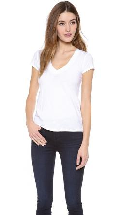 Short Sleeve V Neck T-Shirt by James Perse in Contraband