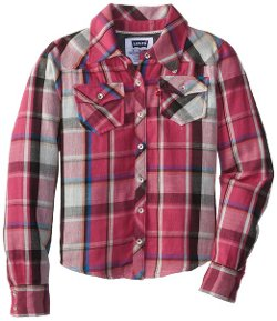 Big Girls' Dani Plaid Button Front Top by Levi's in If I Stay