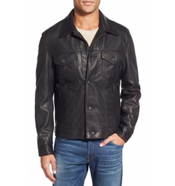Pebbled Leather Trucker Jacket by Schott NYC in War Dogs