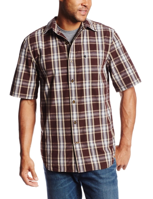 Essential Plaid Button Down Short Sleeve Shirt by Carhartt in Dope