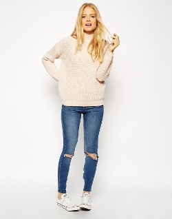 Twist Yarn Turtleneck Chunky Sweater by Asos Collection in The Visit