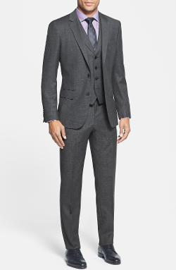 'Hattrick' Trim Fit Three-Piece Suit by Hugo Boss in Anchorman 2: The Legend Continues