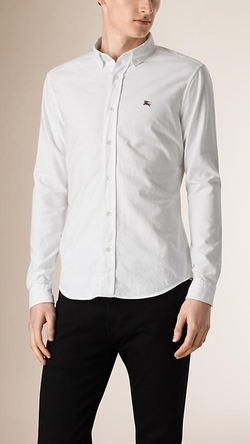 Slim Fit Cotton Oxford Shirt by Burberry in The Living Daylights