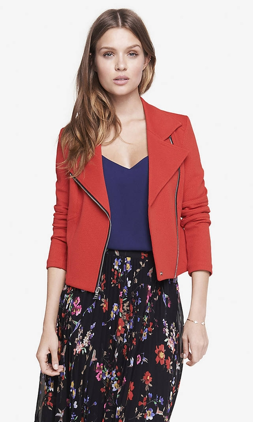 Textured Knit Moto Jacket by Express in Sleeping with Other People