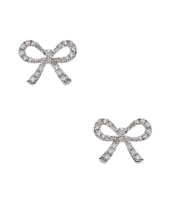 Diamond Bow Stud Earrings by Kc Designs in Bridesmaids