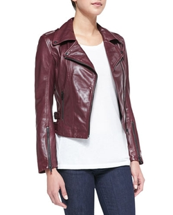 Joanna Asymmetric Leather Jacket by LaMarque in Scandal