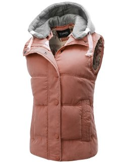 Womens Padded Puffer Active Bodywarmer Vest with Detachable Hood by Thanth in Couple's Retreat