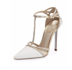 Bejeweled T-Strap D'Orsay Pumps by Rene Caovilla in Suits