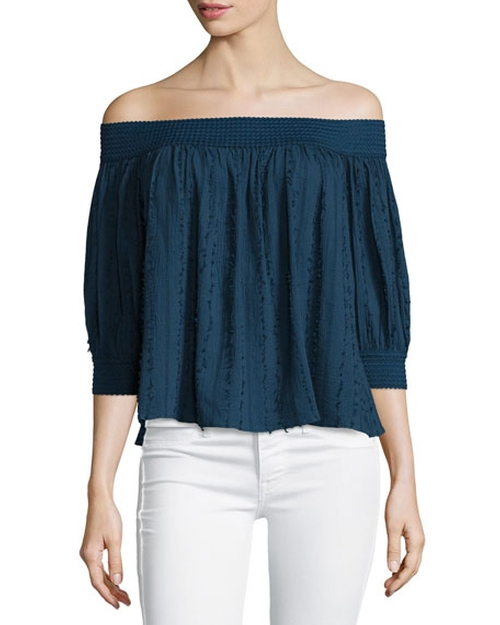 Casper Off-The-Shoulder Fray Top by N Nicholas in Mistresses
